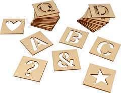 Set de 30 pochoirs alphabet en bois 6x6cm, à décorer