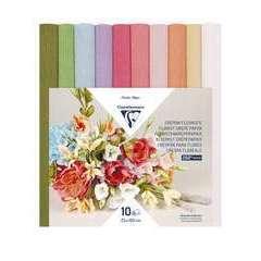 Papier crépon fleuriste, 10 rouleaux 25x100cm, Assortiment pastel