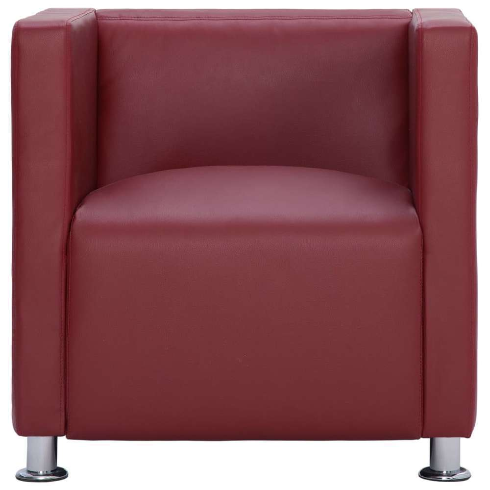 Fauteuil cube Rouge bordeaux Similicuir