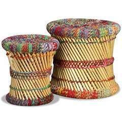 Tabourets avec détails chindi Multicolore Bambou - Lot de 2