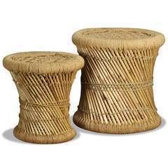 Tabourets Bambou et jute - Lot de 2