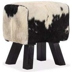 Tabouret Cuir véritable de chèvre - 40x30x45cm