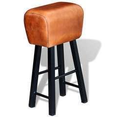 Tabouret de bar Noir et marron Cuir véritable