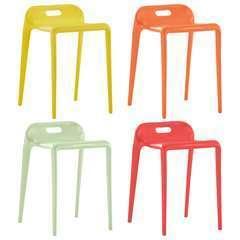 Tabourets empilables Multicolore Plastique - Lot de 4