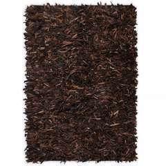 Tapis shaggy Cuir véritable 80 x 160 cm Marron