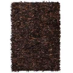 Tapis shaggy Cuir véritable 160 x 230 cm Marron