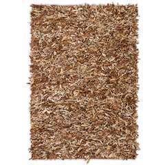 Tapis shaggy Cuir véritable 80 x 160 cm Brun roux
