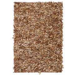 Tapis shaggy Cuir véritable 120 x 170 cm Brun roux