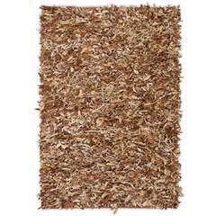 Tapis shaggy Cuir véritable 190 x 280 cm Brun roux