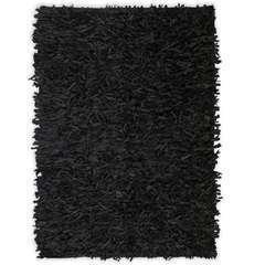 Tapis shaggy Cuir véritable 80 x 160 cm Noir