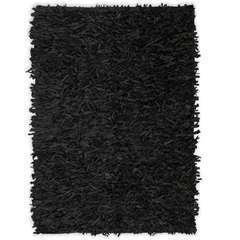 Tapis shaggy Cuir véritable 190 x 280 cm Noir