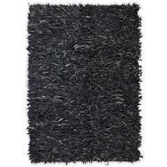 Tapis shaggy Cuir véritable 80 x 160 cm Gris