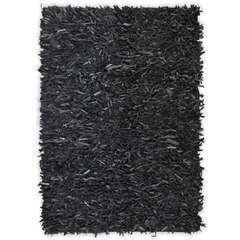 Tapis shaggy Cuir véritable 190 x 280 cm Gris
