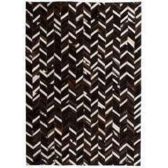 Tapis Cuir véritable Patchwork 80 x 150 cm Chevron Noir/Blanc