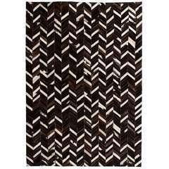 Tapis Cuir véritable Patchwork 120 x 170 cm Chevron Noir/Blanc