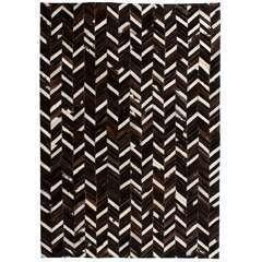 Tapis Cuir véritable Patchwork 160 x 230 cm Chevron Noir/Blanc