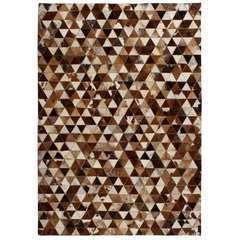 Tapis Cuir véritable Patchwork 80 x 150cm Triangle Marron/Blanc