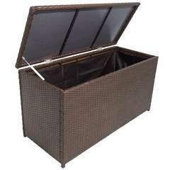 Boîte de rangement de jardin Marron 120x50x60 cm Résine tressée
