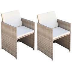 Chaises de jardin 2 pcs avec coussins Résine tressée Beige