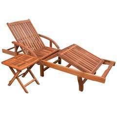 Chaise longue avec table Bois d'acacia solide