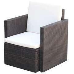 Chaise de jardin et coussins et oreillers Résine tressée Marron