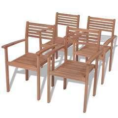 Chaises empilables de jardin 4 pcs Bois de teck solide