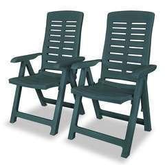 2 pcs Chaises inclinables de jardin Plastique Vert