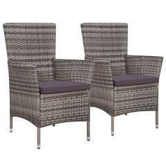 Chaises de jardin 2 pcs avec coussins Résine tressée Gris