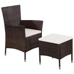Chaise et tabouret d'extérieur et coussins Résine tressée Brun