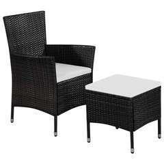 Chaise et tabouret d'extérieur et coussins Résine tressée Noir