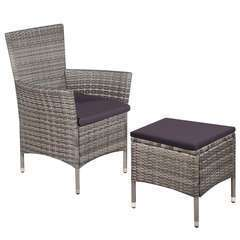 Chaise et tabouret d'extérieur et coussins Résine tressée Gris