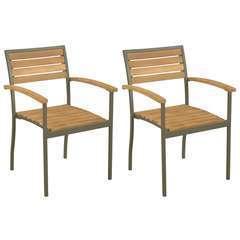Chaise empilables d'extérieur 2 pcs Bois d'acacia et Acier
