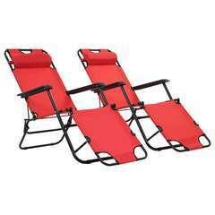 Chaises longues pliables 2 pcs avec repose-pied Acier Rouge