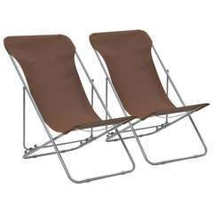 Chaises de plage pliables 2 pcs Acier et tissu oxford Marron