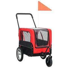 Remorque de vélo pour chiens et poussette 2-en-1 Rouge et noir