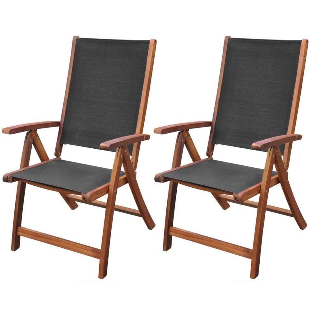 Chaises pliables de jardin 2 pcs Bois d'acacia et textilène