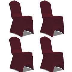 Housse de chaise extensible 4 pcs Bordeaux
