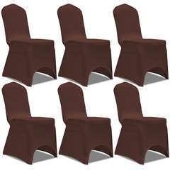 Housse de chaise extensible 6 pcs marron
