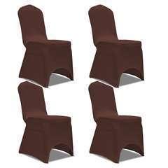 Housse de chaise extensible 4 pcs marron