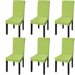 Housse de chaise droite extensible 6 pcs vert