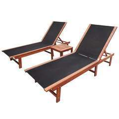 Chaises longues 2pcs et table Bois d'acacia solide et textilène