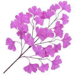 10 pcs Feuilles artificielles de ginkgo Violet 65 cm