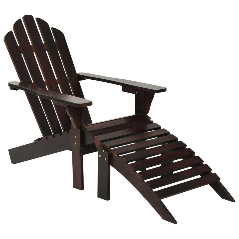 Chaise de jardin avec pouf Bois Marron