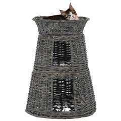 Panier pour chats 3 pcs avec coussins Gris - 47x34x60 cm