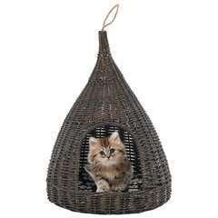 Panier pour chats avec coussin Gris Saule naturel - 40x60 cm