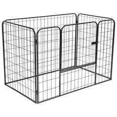 Parc à jeux robuste pour chiens Noir Acier - 120x80x70 cm
