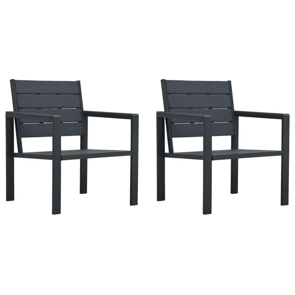 Chaises de jardin 2 pcs Gris PEHD Aspect de bois
