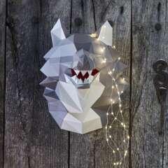 Trophée tête de loup à construire en 3D, couleur gris et blanc