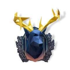 Trophée Cerf en papier indigo, bois or à  construire en 3 dimensions