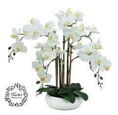 Orchidée artificielle toucher réel 6 branches coupe céramique 55cm
